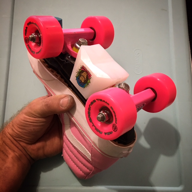 cda22f7d45f6f5 Aggressive vans sneaker skates with bigfoot slider blocks and penny trucks.